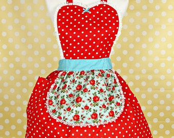Red Polka dot apron  Cottage Chic pretty floral red Womens Retro full APRON  with pocket vintage style flirty gift aprons