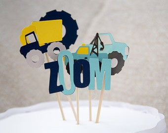 Truck theme cake toppers