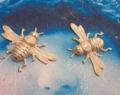 Gold Plated Frosted White Patina Queen Bee Stamping  Bent or Straight 333WHT x1