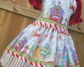 ON SALE Ready to Ship Custom Boutique Christmas Santa Red Green Gingerbread Girl  Dress  Size 4 or   5   Slim 6 RTS
