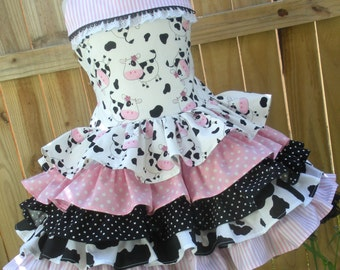 Ready to Ship Custom Boutique Pink Cow Black Girl Ruffled Dress Size 3 or 4