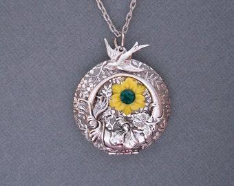 Ox Silver Round Locket with Bird and Flower.
