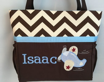Chevron  ...  AIRPLANE  .. DIAPER Bag .. Applique   ... Personalized Free .. Bottle POCKETS