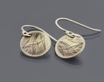 Cupped Sterling Silver Feather Earrings
