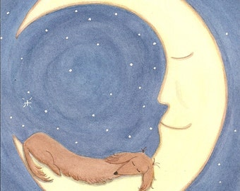 Brown longhaired dachshund (doxie) sleeping on the moon / Lynch signed folk art print