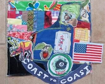 Funky FABRIC COLLAGE DOG Folk Art -- Sewn Stitch Patchwork Assemblage - Altered Outsider - myBonny random scraps