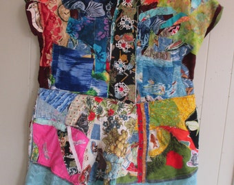 PATCHWORK FABRIC COLLAGE Folk Art Couture -  Altered Upycled Clothing - Wearable Artisan Tunic - mybonny random scraps