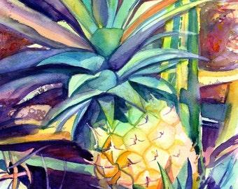 Pineapple 8x10 art, Pineapple art print, Hawaiian Pineapple Art, Pineapple artwork, Pineapple decor, Pineapple design, Hawaii art