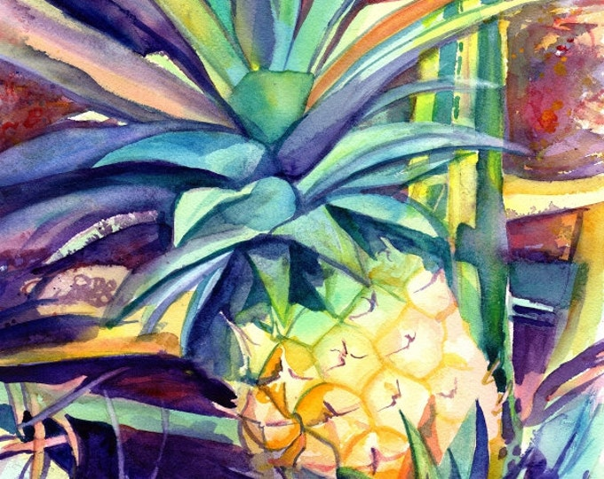 Pineapple 8x10 art, Pineapple art print, Hawaiian Pineapple Art, Pineapple artwork, Pineapple decor, Pineapple design, Hawaii art