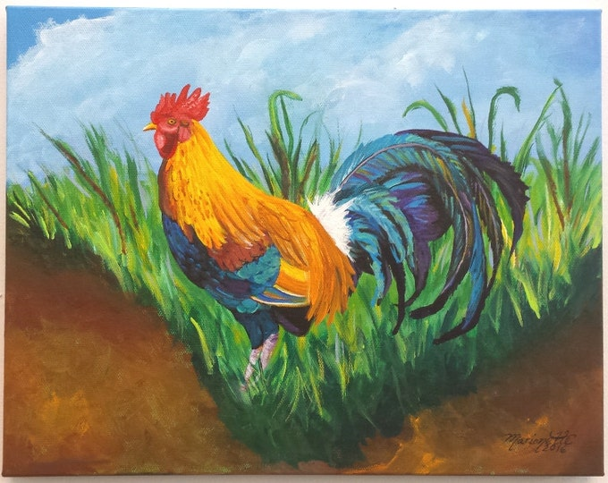 Rooster Original Acrylic Painting from Kauai Hawaii Sugar Cane Rooster Hawaiian Art Kitchen Painting Chickens Fowl Birds Roosters