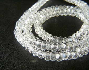 Herkimer Diamond Faceted Roundels - Half Strand - 5mm - 4 Inches