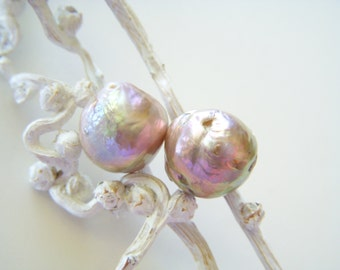Multi Rose Chinese Kasumi Pearls - Pair - 12 to 13mm