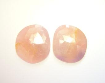 RESERVED - Blush Pink Sapphire Rose Cut Asymmetrical Drops - Pair - 17x19mm