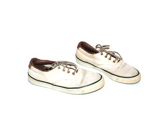 90s grunge white canvas sneakers 1990s vintage oxford tie shoes size 8.5