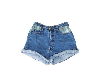 90s grunge rolled up jean shorts 1990s vintage high waisted plaid trimmed distressed denim shorts