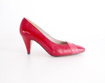 sz 5.5   Vintage Chantal Leather Court Shoes   Lipstick Red Snakeskin Pumps   35.5