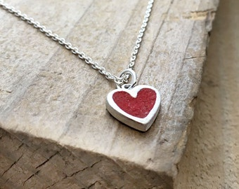 Small red heart necklace, silver, concrete jewelry, gift for her, girlfriend gift, wife gift, concrete heart pendant, cement jewelry