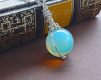 Fortune Teller Opalite Crystal Ball Necklace Pendant With Long Silver Chain Sphere Pendant