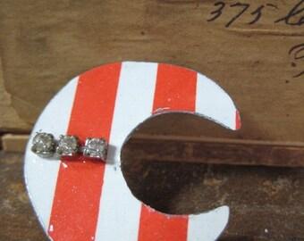 50% OFF SALE Vintage Crescent Moon Tin Brooch