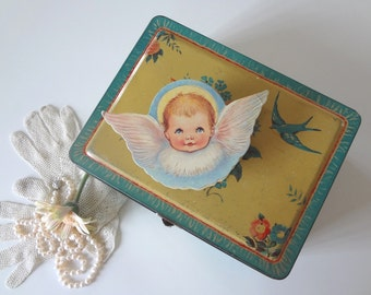 Angel Box Container Figural 1985 Vintage Merrimack Batism Birth Keepsake Birthday - EnglishPreserves