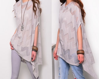Moonlight - zen asymmetrical T-shirt / idea2lifestyle boho tunic / kaftan top / open knit extravegant tunic /gray asymmetrical poncho(P5110)