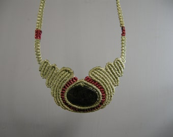 vintage macrame and oval stone necklace, sage green with red accents, tightly woven cord necklace, self adjusting knot