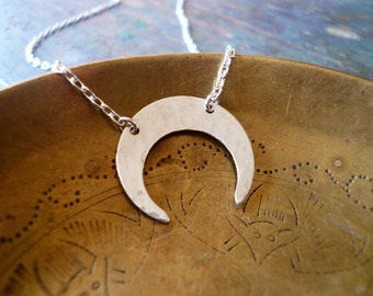 Hammered Silver Crescent Moon Necklace in Sterling Silver - Silver Inverted Moon Necklace, Tribal Silver Crescent Moon Necklace