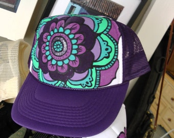 Purple Hand Painted Mandala Trucker Hat