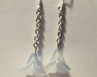 Pale blue Dew Drop Flower Earrings