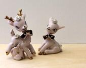 Vintage 1960s pink deer figurines. Retro kawaii kitsch.