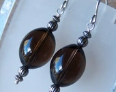 Genuine Smoky Quartz Beaded Dangle Earrings in Sterling Silver, Cavalier Creations