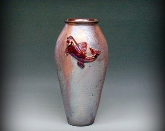 Raku Vase with Trout in Metallic and Iridescent Colors