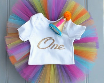 Rainbow First Birthday Outfit Girl, Rainbow Baby Tutu, Rainbow Tutu Dress Set, 1st Birthday Outfit Girl, Tulle Skirt, Cake Smash Outfit Girl