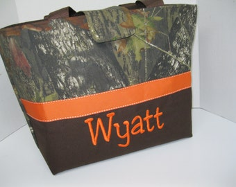 Personalized / Monogrammed Camo Fabric Diaper Bag