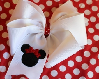 Embroidered Mouse Head Hair Bow Big Boutique Ears Fantasy