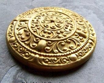 Brass Stamping, Brass Finding, Brass Cabochon, Brass Medallion, Ornate, Dapped, Vintage Brass Stamp, Brass Stamp, Round, Large, 1 Stamping