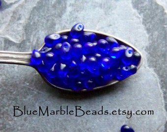 Tiny Glass Bead, Blue Glass Beads, Colbalt Blue, Czech Glass Beads, Teardrop Beads, Tiny Teardrop Beads, Briolettes, 1 Scoop