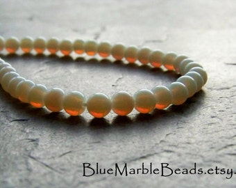 Fire Opals, Opal Glass Bead, Vintage Glass Beads, Opal Glass, Japan, WWII, WW2, White Opal, Round Beads, Round Glass Beads, 3mm, 100 Beads