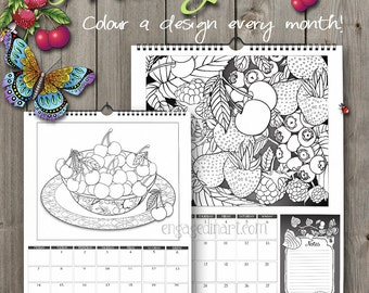 Colouring Calendar A3 2016 - Fruit Garden- Colouring for Adults - Spiral Bound Wall Calendar