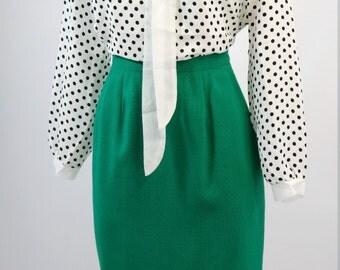 vintage | kelly green cotton high waist pencil skirt s m