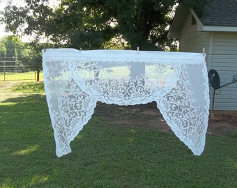 Vintage Lace Curtain White Lace Valance White Lace Panel Window Treatment French Country French Prairie Cottage Chic 54 x 36