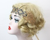 1920s Gold Flapper Headband, Great Gatsby Headpiece, Copper Beaded Hair Accessory, Festival Wear, Coachella, Burning Man, Prom Wear