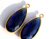 55% OFF SALE 1 Pc 29x13 mm Gold Plated Bezel Set AAA Kyanite Quartz Faceted Pear Cut Charm, Single Loop Gemstone Pendant Gp13