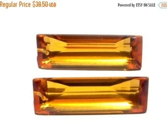 55% OFF SALE 2Pcs Matched Pair - AAA Citrine Quartz Front to Back Drilled Faceted Baguette Briolettes Size 30x10mm Approx