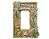Dragonflies Ceramic Light Switch Cover- Single Rocker Decora in tan emerald glaze