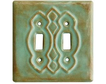 Ceramic Light Switch Cover- Moroccan Double Toggle in Sandstone Glaze