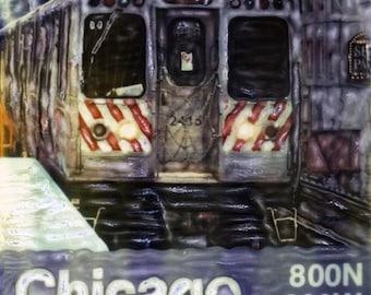 Chicago El Train Polaroid SX-70 Manipulation - 8x8 Fine Art Photograph