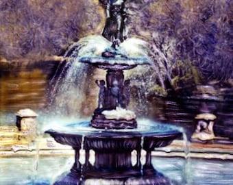 Bethesda Fountain- Polaroid SX-70 Manipulation - 8x8 Fine Art Photograph, Wall Decor