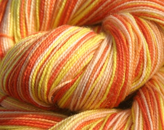 Handpainted Glimmer Sock Yarn - Superwash Merino Wool, Nylon, Gold Stellina - Candy Corn