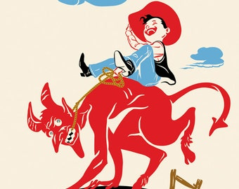Devil Print, Rodeo Cowboy Riding Bucking Devil, Old West - Large Giclee Print